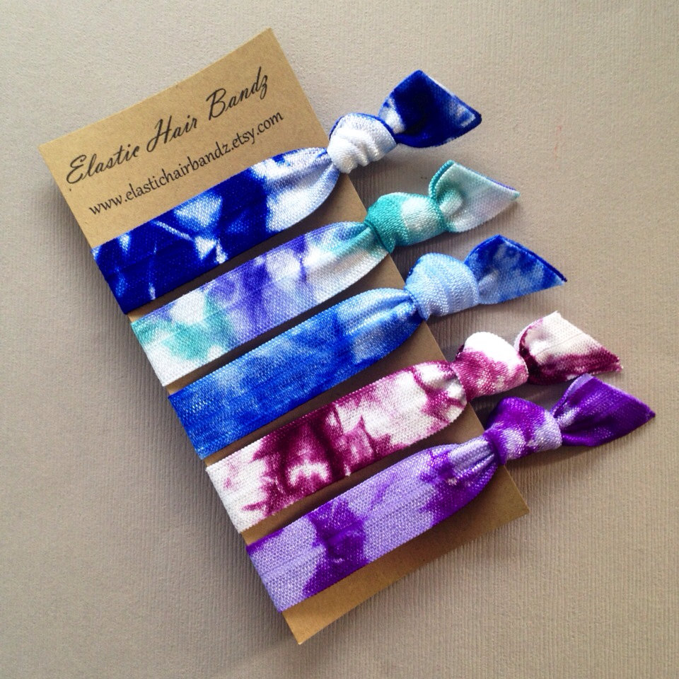The Kelli Tie Dye Hair Tie-Ponytail Holder Collection - 5 Elastic Hair Ties  by 6c0839c0337