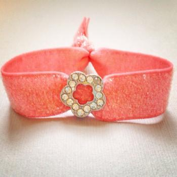 1 Rhinestone Flower Charm on Glitter Bracelet-Elastic Hair Tie by Elastic Hair Bandz on Etsy